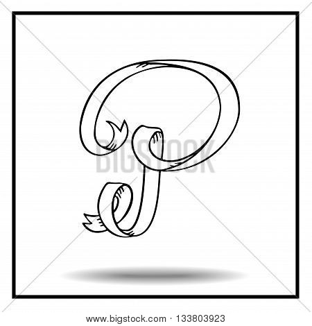 Ribbon alphabet. Ribbon letter. Ribbon P. Display ribbon font. Sketch ribbon latter P.