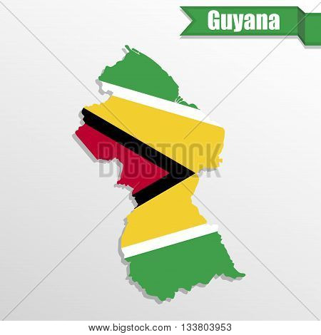 Guyana map with flag inside and ribbon