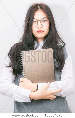 Nerd Beautiful Young Asian School Girl Hold Lecture Book