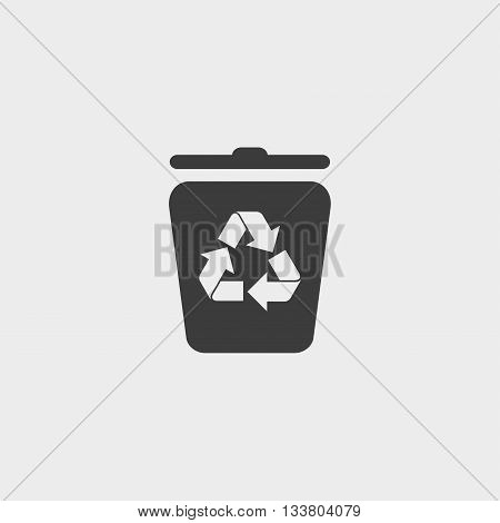 Trash can icon in a flat design in black color. Vector illustration eps10