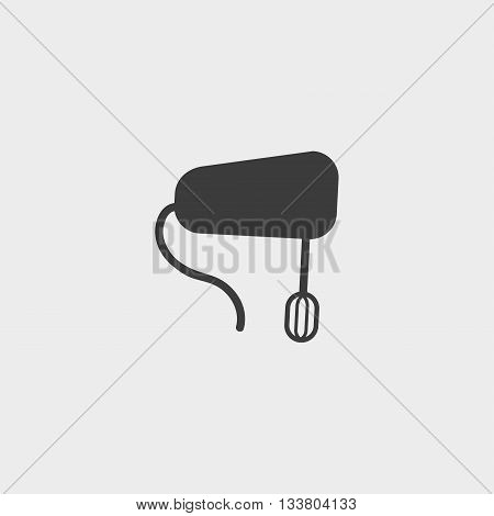 Hand mixer icon in a flat design in black color. Vector illustration eps10