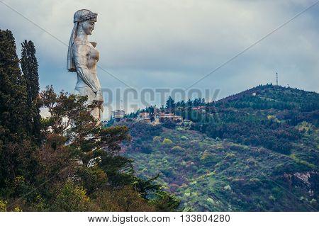 Tbilisi Georgia - April 24 2015. Mother of the Georgians statue on Sololaki hill