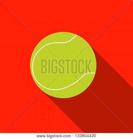 Tennis ball with long shadow on red background. Picture style flat