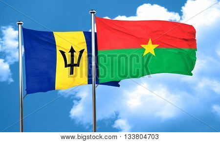 Barbados flag with Burkina Faso flag, 3D rendering