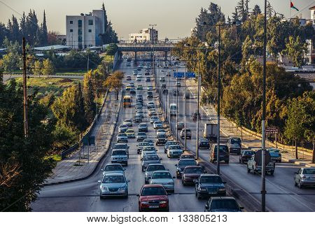 Amman Jordan - December 23 2015. Traffice at Queen Noor Street one of the main streets of capital of Jordan