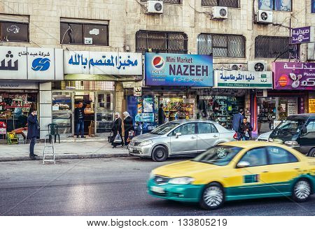 Amman Jordan - December 23 2015. View on Al Shareef Naser Bin Jameel Street in Amman
