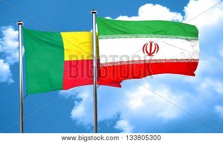 Benin flag with Iran flag, 3D rendering
