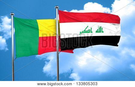 Benin flag with Iraq flag, 3D rendering