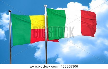 Benin flag with Italy flag, 3D rendering