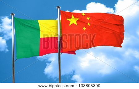Benin flag with China flag, 3D rendering