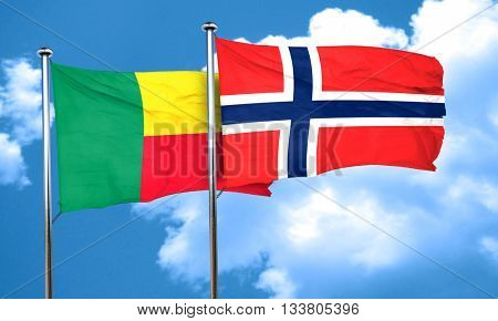 Benin flag with Norway flag, 3D rendering