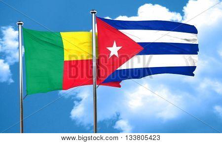 Benin flag with cuba flag, 3D rendering