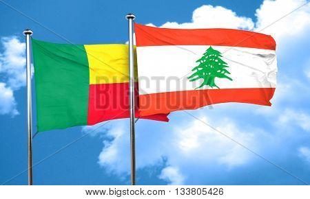 Benin flag with Lebanon flag, 3D rendering
