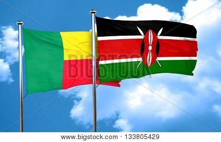 Benin flag with Kenya flag, 3D rendering