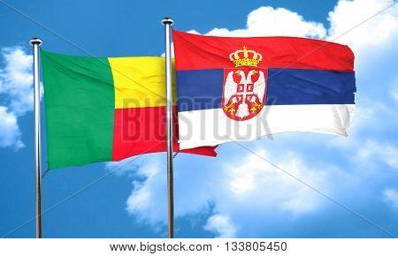 Benin flag with Serbia flag, 3D rendering
