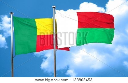 Benin flag with Madagascar flag, 3D rendering
