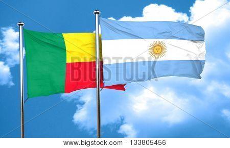 Benin flag with Argentine flag, 3D rendering