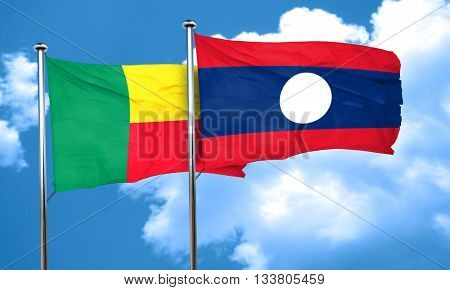 Benin flag with Laos flag, 3D rendering