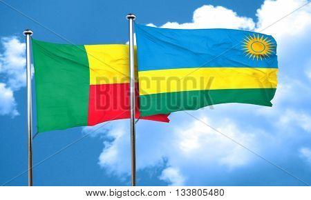 Benin flag with rwanda flag, 3D rendering