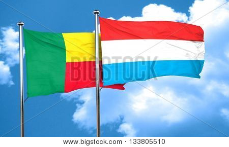 Benin flag with Luxembourg flag, 3D rendering