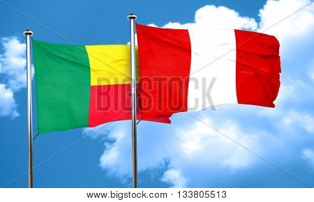 Benin flag with Peru flag, 3D rendering