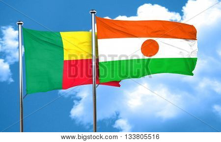 Benin flag with Niger flag, 3D rendering