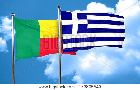 Benin flag with Greece flag, 3D rendering