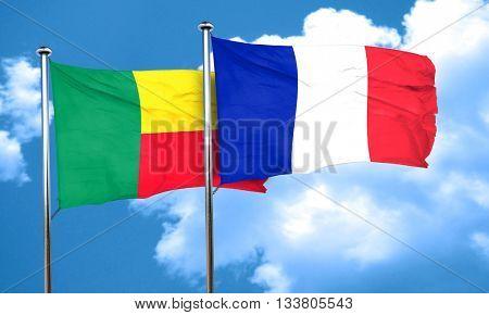 Benin flag with France flag, 3D rendering