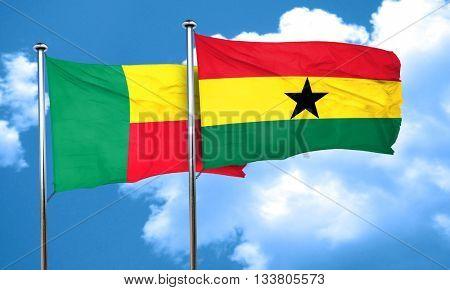 Benin flag with Ghana flag, 3D rendering