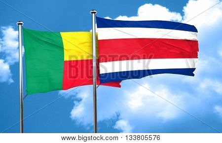 Benin flag with Costa Rica flag, 3D rendering