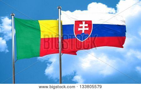 Benin flag with Slovakia flag, 3D rendering