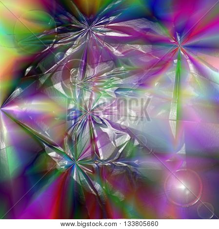 Abstract coloring greens gradients background with visual lens flare and plastic wrap effects