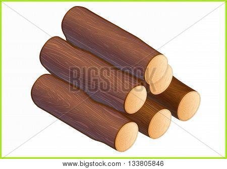 firewood isometric flat vector 3d illustration. log icons.
