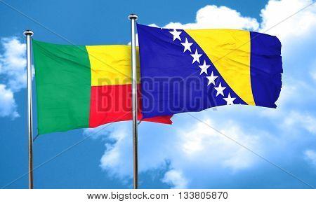 Benin flag with Bosnia and Herzegovina flag, 3D rendering