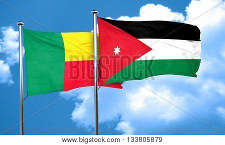 Benin flag with Jordan flag, 3D rendering