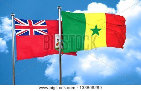 bermuda flag with Senegal flag, 3D rendering