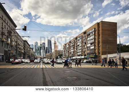 Moscow Russia - June 10 2016: busy street in Moscow on the background Moscow International Business Center