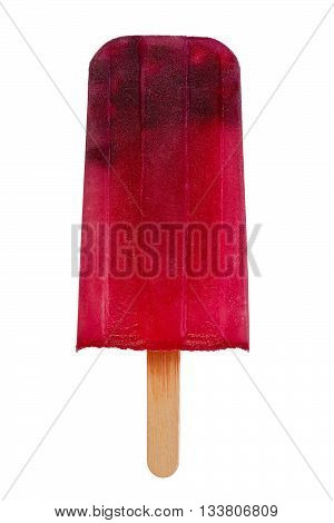 Homemade popsicle made with pomegranate juice and fruit against white background.