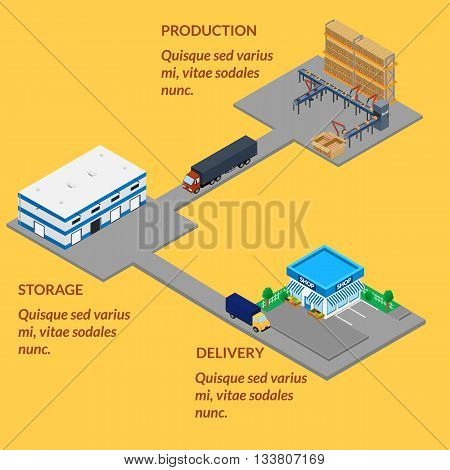 vector illustration. Automated production conveyor line warehouse shop. manufacturing. delivery by truck. isometric infographics 3D