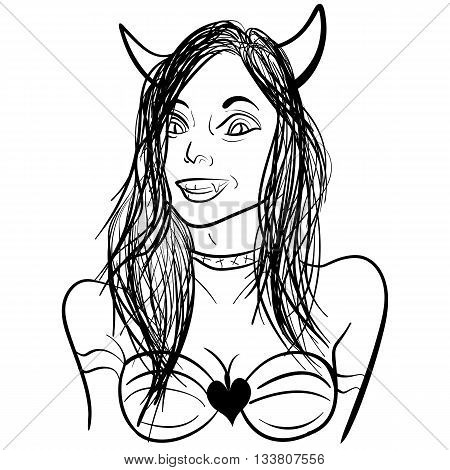 Cartoon coloring book hand drawn illustration of pretty demon lady