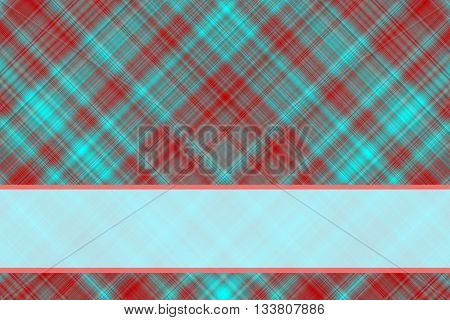 Red and cyan checkered illustration with cyan banner