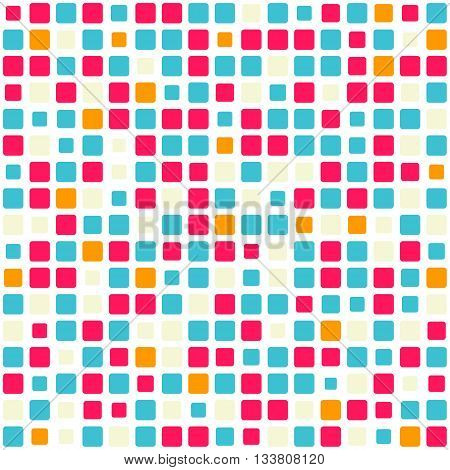 Vector seamless pattern. Abstract background texture with random square tiles. Design for cover, textile, pool, kitchen, bathroom.