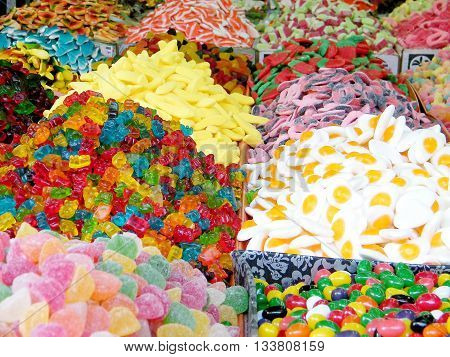 Multicolor soft candy on bazaar in Tel Aviv Israel
