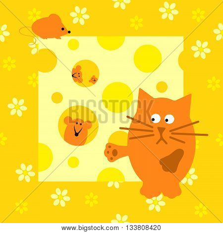 Children's illustration with a cat and mice.