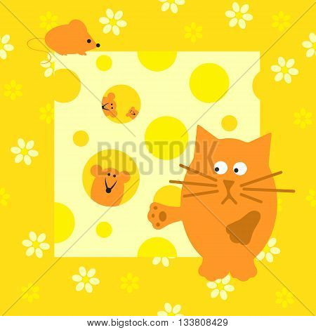 Children's illustration with a cat and mice background.