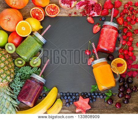Fresh smoothy drink with igredients frame with copy space