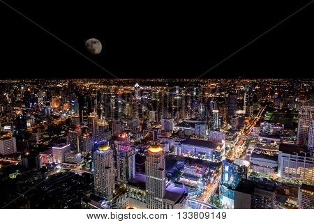 Top view of the colorful nightlife of Bangkok on the night of the full moon.