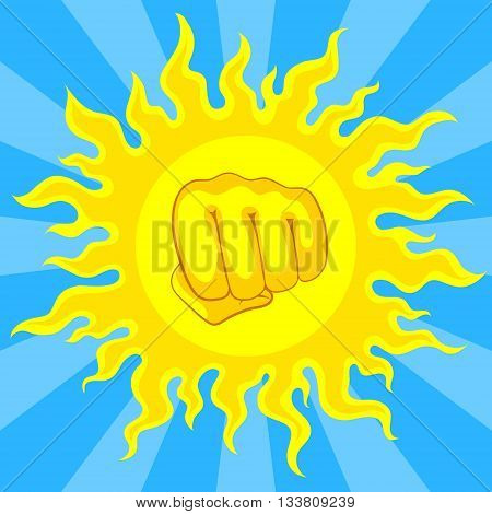 Bright yellow sun and fist in the middle with sunrays on blue sky. Risk of sunstroke and heatstroke at hot season