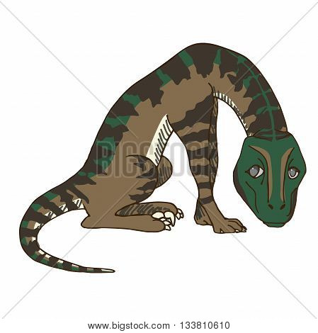 Cute Baby Velociraptor or Raptor Dinosaur Feeling Regretful