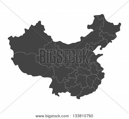 map of China with regions illustrated on a white background